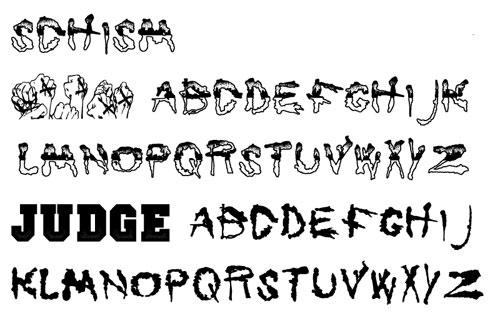 Hardcore text font